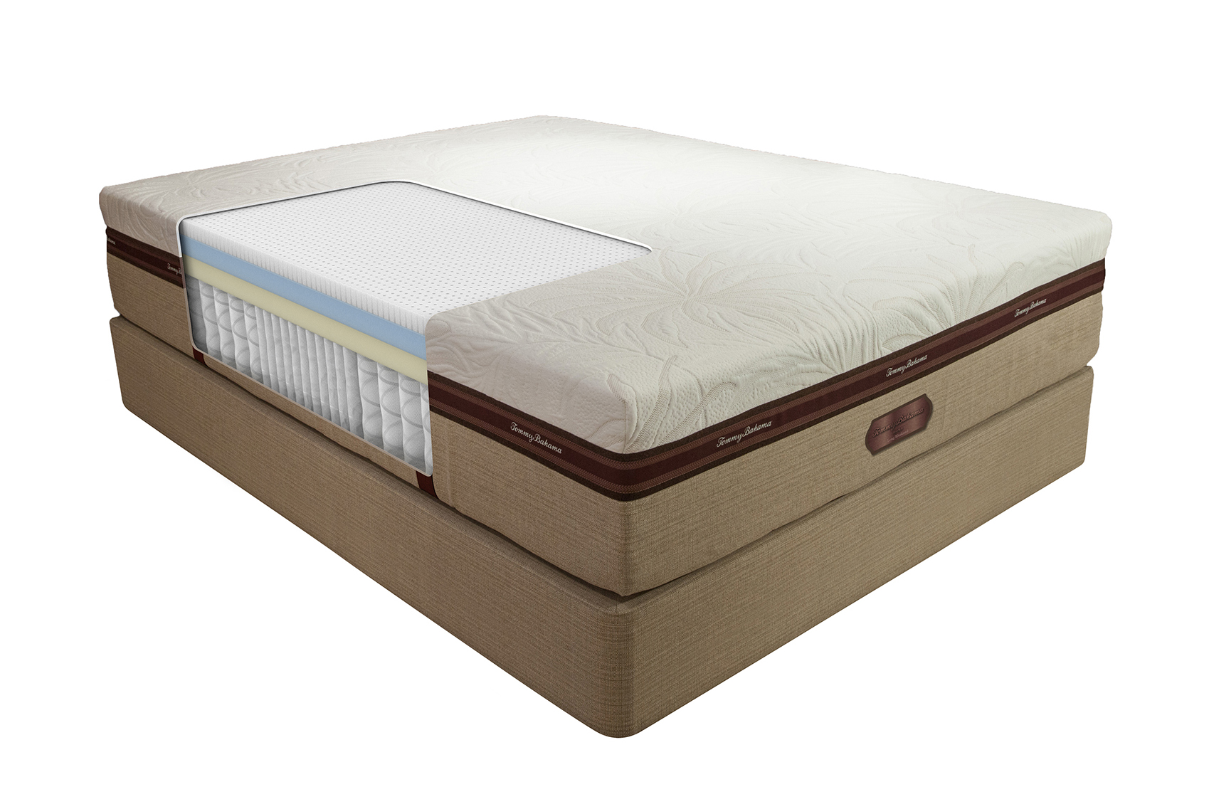 Tommy Bahama cutaway shot of the interior mattress materials for the long weekend model