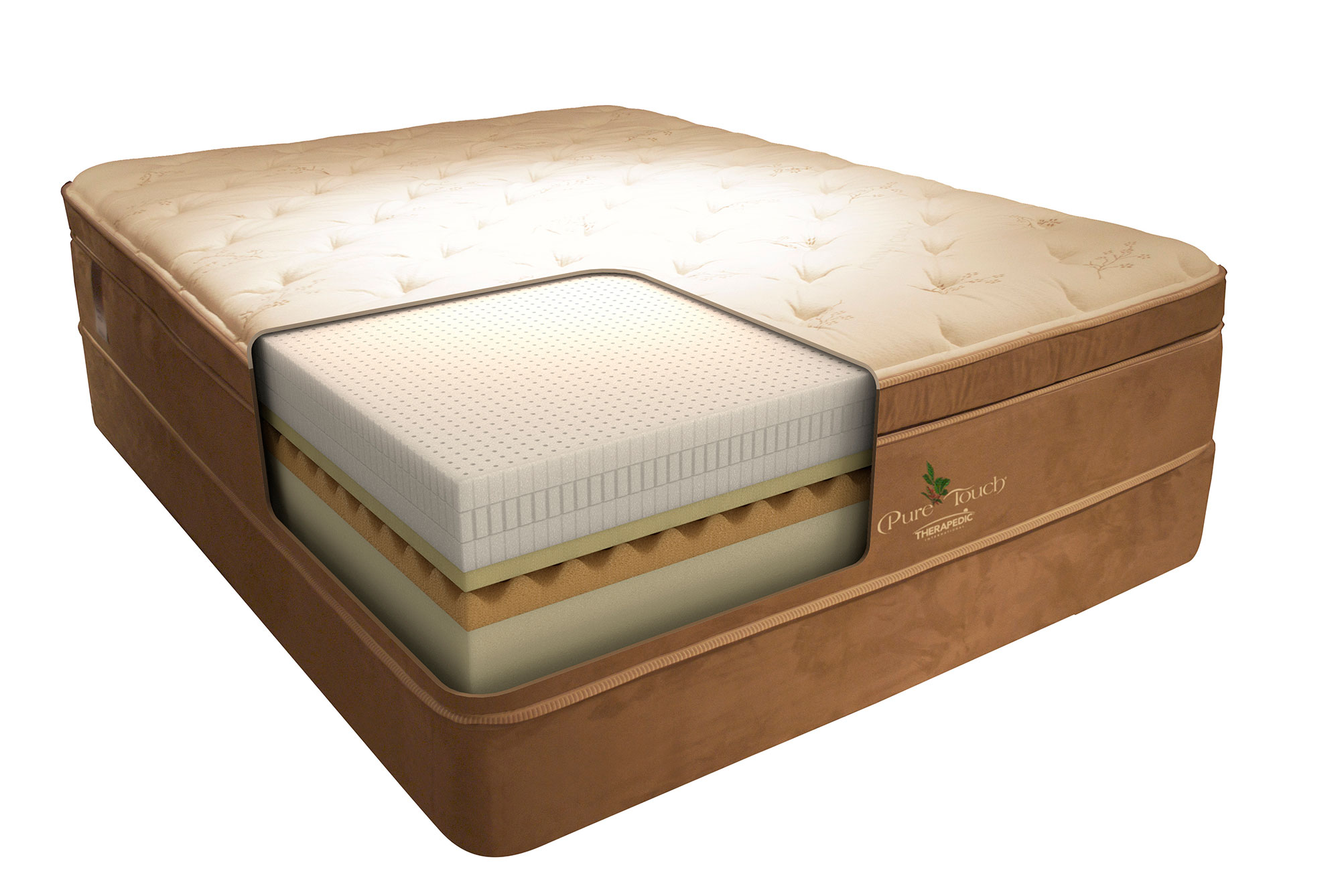 Pure Touch therapedic cutaway showing the foam materials inside of the mattress